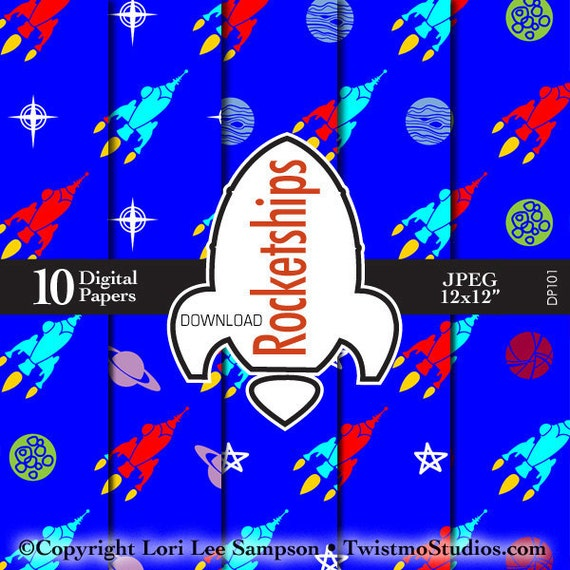 Outer space paper digital download rockets rocketship for Outer space paper