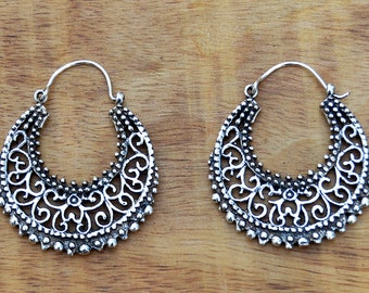 Silver Hoop Earrings, Gypsy Earrings, Boho Earrings, Tribal Earrings, Silver Filigree Earrings, Ethnic Earrings, Indian Earrings