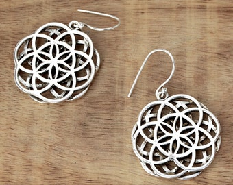Mandala Earrings, Mandala Flower Earrings, Silver Mandala Earrings, Flower of Life Earrings, Tribal Earrings, Sacred Geometry Earrings