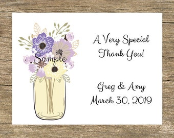 100 Personalized Purple Yellow Mason Jar Wedding Thank You Cards with Envelopes