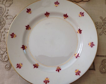 Antique Victorian/Edwardian Bavaria-Germany Eschenbach Porcelain Footed Holiday Plate H-P Decoration Burgundy/Gold Fluer De Lis Trademarked