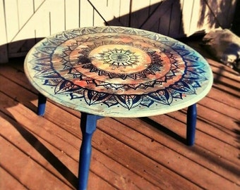 Hand painted mandala round coffee table