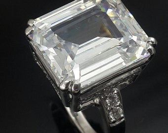 Emerald cut sterling silver ring