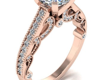 1 1/2ct Engagement ring 925 Sterling silver Jewelry for women Pink Vintage Ring