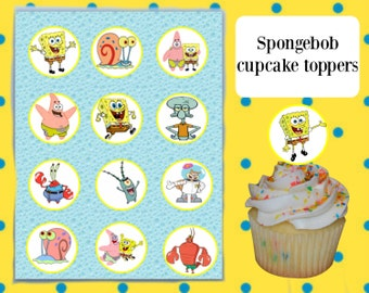 Spongebob Sqaurepants Cupcake Toppers printable