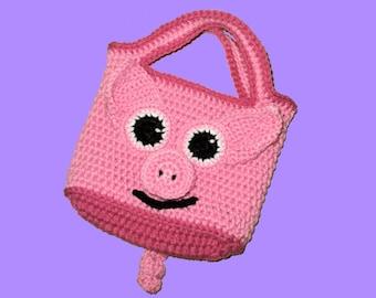 Small crochet Piggy Tote Bag