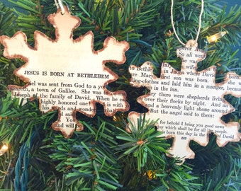 Christmas Story Ornaments, Christmas Bible Story Ornaments, The Story of Christmas Ornaments, Christian Ornaments, Snowflake Ornaments