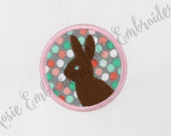 Applique Chocolate Bunny Silhouette in a Circle Machine Embroidery Design Instant Download Digital Pattern - RE2