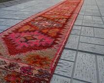 Hallway rug. Pink rug. Turkish handmade carpet. Runner. Free shipping. 12.1 x 1.7 feet. (3.70 x 0.53 cm).