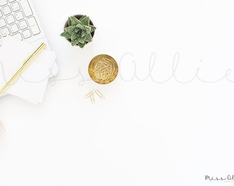 Styled stock photography, styled desktop gold, succulent, product photography