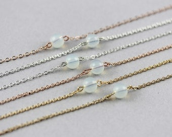 Dainty moonstone Necklace on sterling silver, 14k gold filled, rose gold filled, tiny moonstone necklace