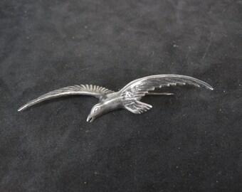 Vintage Sterling Silver Bird in Flight Brooch