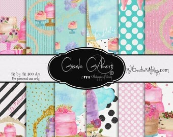 Hand Painted Digital Paper Pattern Printable Planner Stickers