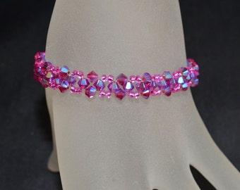 Swarovski crystal bracelet end fuchsia ab2x
