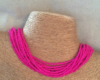 Pink beaded necklace, pink seedbead multi-strand necklace, pink bridesmaids, bright pink necklace, fuchsia necklace, pink multistrand