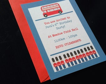 Toy soldier Invite, London red bus Invitation, Birthday party invitation, Boy's party invitation