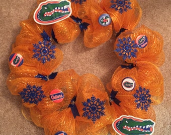 CLEARANCE** Florida Gators Christmas Deco Mesh Wreath
