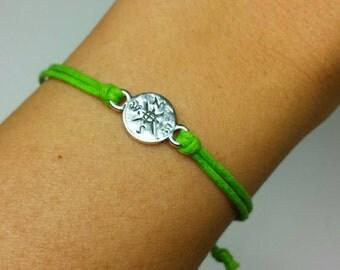 Compass Charm Bracelet- Friendship Bracelet - Boho-Bohemain- Dainty- Simple- Minimalist- Travel- Gift - Pick your color