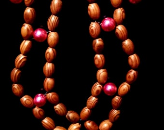 Bamboo bead and pearl necklace
