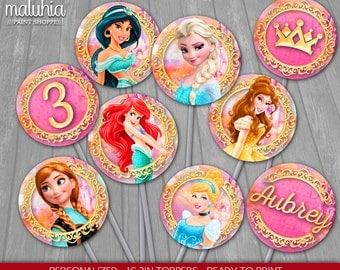 Princess Cupcake Toppers - Disney Princesses 16 Custom Cupcake Toppers Birthday Party - Princess Ariel Aurora Snow WhiteParty Decoration