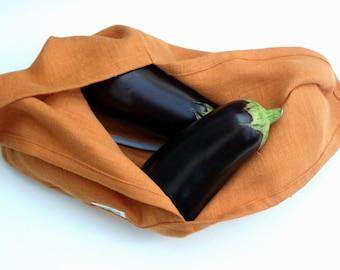 Orange linen bag, Azuma Bag, shopper, market bag