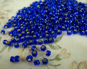 TOHO round 8/0 Silver-Lined Cobalt (TR-08-28) japanese glass seed beads for beading, soutache jewelry making (10g)