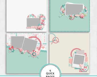 Coming from love quick pages kit, baby girl digital scrapbook, Hebrew quick pages, baby girl quick pages, scrapbook template, Hebrew paper