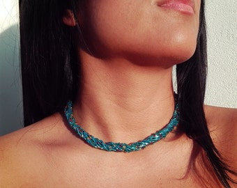 Colored glass beads necklace