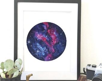 Blue/Red Nebula. Watercolor original art print. Wall art. Space home decor. Nebula wall art. Galaxy art print.