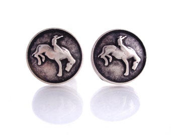 "2 - Bucking Bronco Metal Buttons with Shank 3/4"" (20mm)"