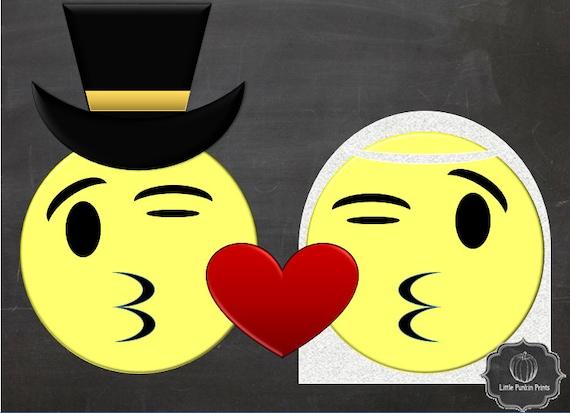 Wedding gift emoji art bride and groom printable