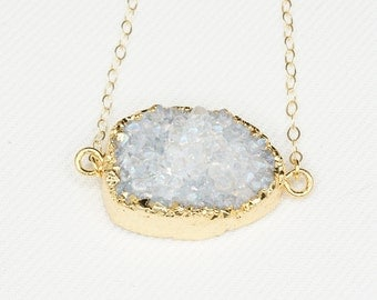 Spoonful of Sugar - Large White Druzy Pendant