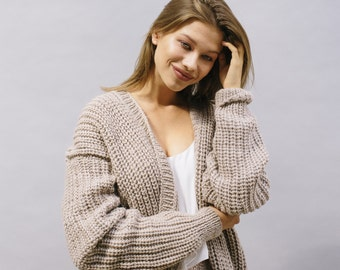 50% off-sale TAUPE CHUNKY CARDIGAN oversize taupe colour