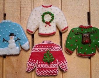 Ugly Christmas Sweater Cookies!!  One Dozen