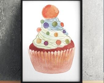 Watercolor print Kitchen art Cupcake poster Food print ACW615