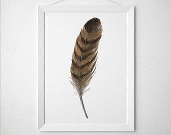 Feather poster Watercolor print Feathers print Bird decor ACW872
