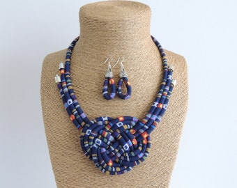 fabric cord necklace, blue necklace, knot necklace, tribal necklace