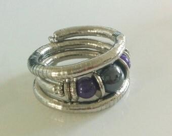 Purple n Silver Spiral Metallic Bracelet