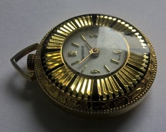 Swissam Gold Plated Pendant Watch floral design - Swiss made watch Fob watch
