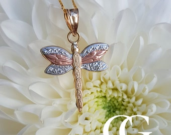 9ct Three Colour Gold Dragonfly Pendant Necklace