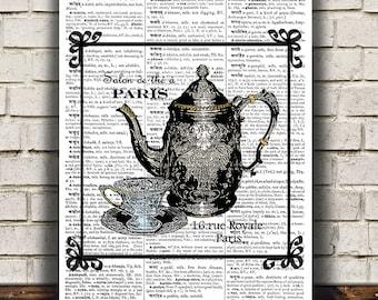 Victorian print Teapot art Vintage poster Antique print RTA786