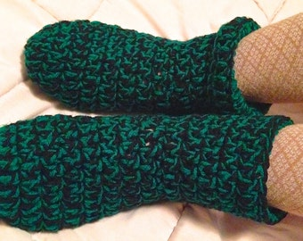 Black & Green Adult Crocheted Slippers
