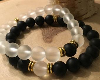 Stackable Onyx & Quartz Gemstone Bead Bracelets