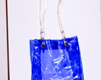 1990's Blue Vinyl Tote With Coin Purse