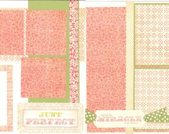 12x12 JUST PERFECT scrapbook page, premade miracle scrapbook, 12x12 premade scrapbook page, premade scrapbook pages, 2 page layout