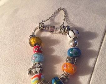 "Silver 7 1/2"" charm bracelet"