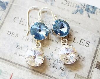 Swarovski blue sapphire and crystal rivoli earrings