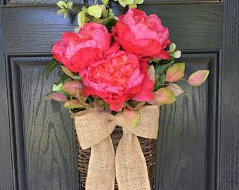 Pink peony summer door hanger basket - wreath alternative