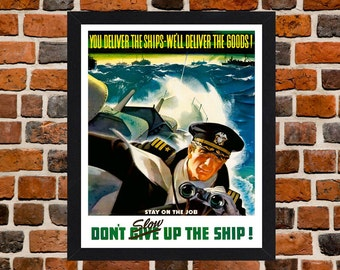Framed U.S Navy Second World War Propaganda Poster A3 Size Mounted In Black Or White Frame