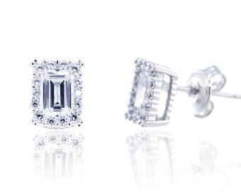 925 Sterling Silver Emerald Cut Earring 1.64 CT.TW (S113)
